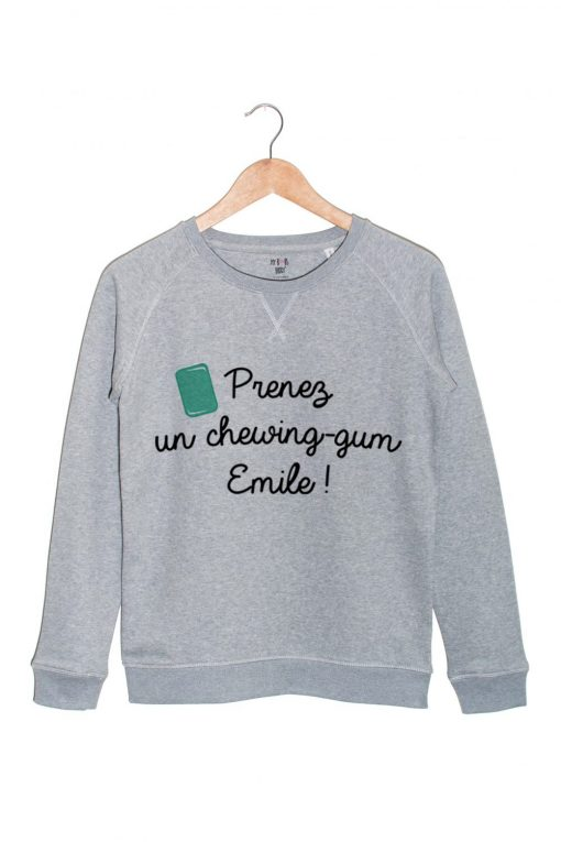 prenez un chewing gum emile sweat gris