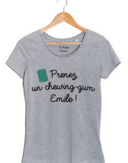 prenez un chewing gum emile tshirt femme gris
