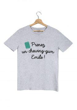 prenez un chewing gum emile tshirt homme gris