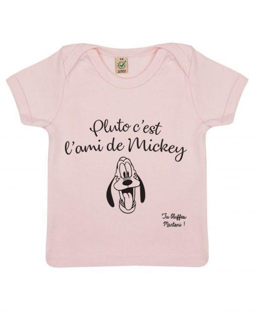 pluto c'est l'ami de mickey rose t-shirt bébé la cité de la peur tu bluffes martoni