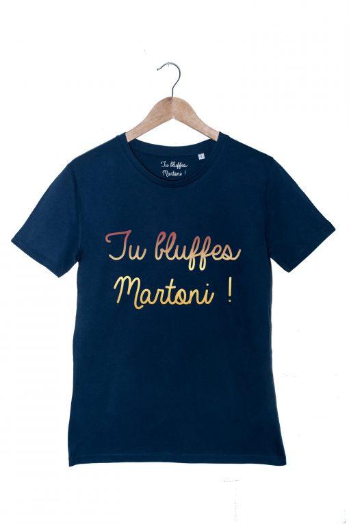 martoni or flamme tshirt Homme Bleu la cité de la peur tu bluffes martoni