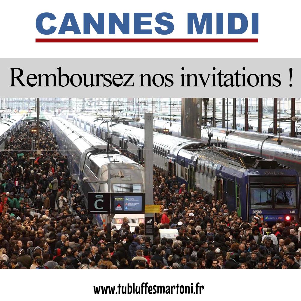 """Cannes Midi : Grève SNCF """"Remboursez nos invitations"""""""