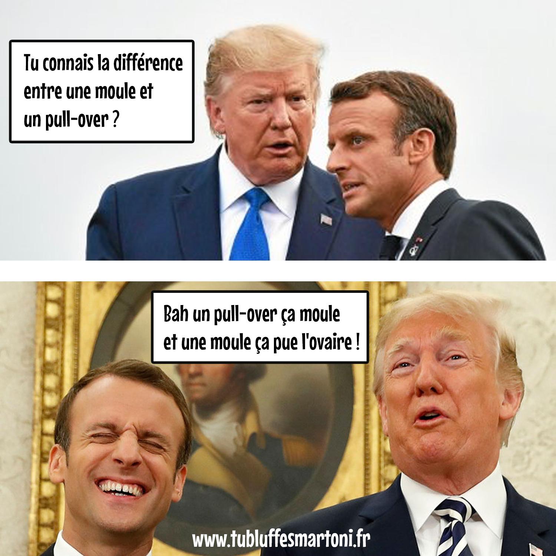 """Cannes Midi : Macron/Trump """"Quelle est la différence entre une moule et un pull-over ?"""""""